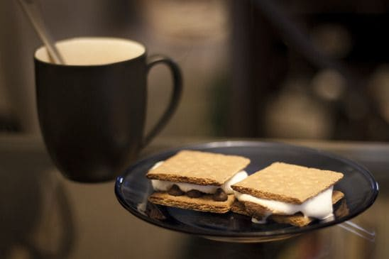 Two S'mores With a Mug of Hot Chocolate