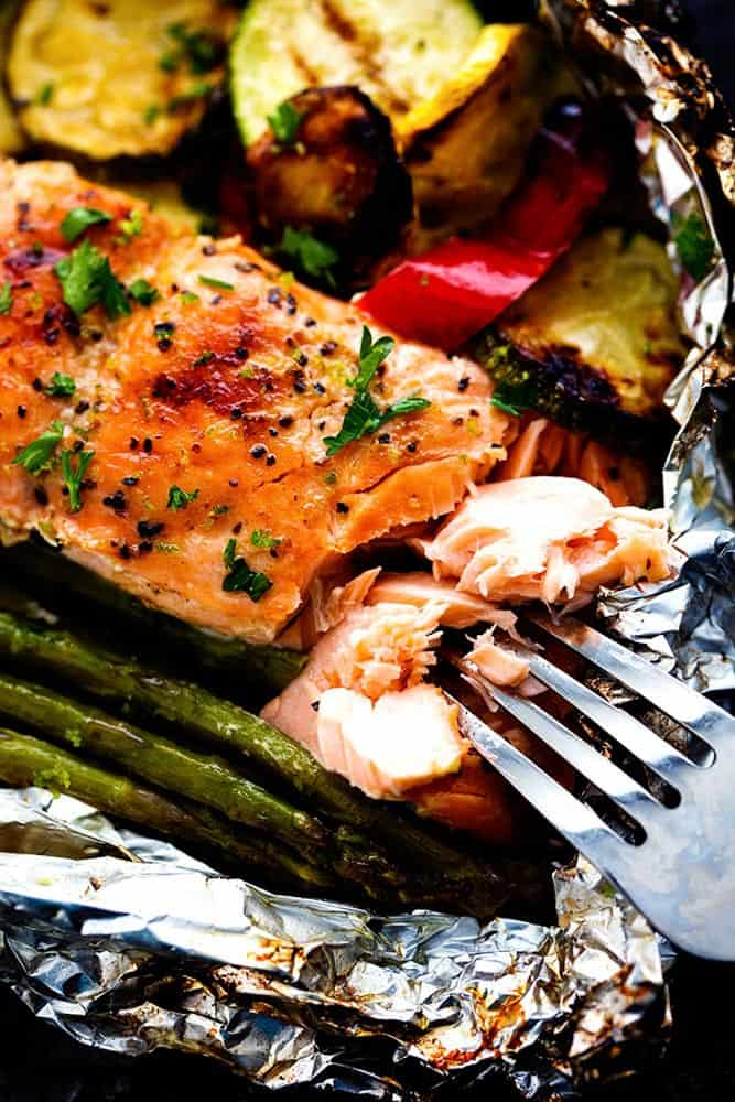 Grilled Lime Butter Salmon foil Pouches With Veggies
